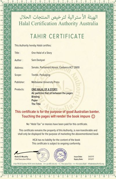 Sam Dastyari slammed after halal certifying his book